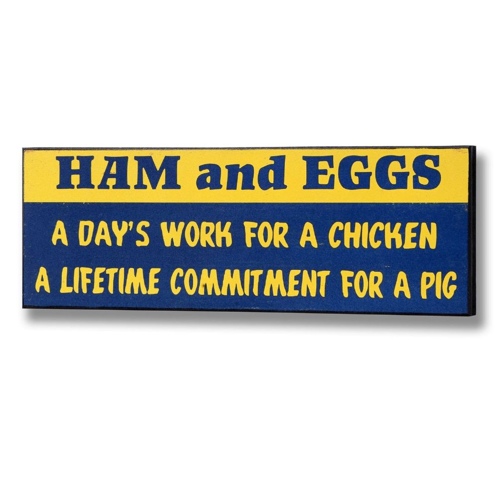 Ham And Eggs Plaque Wooden Sign - 14cm x 40cm